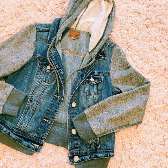 American Eagle Outfitters Jackets & Blazers - American Eagle Denim & Sweatshirt Jacket With Hood